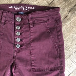 American Eagle Outfitters Pants - American Eagle Burgundy Stretch Button Fly Pants
